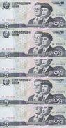 COREE DU NORD 5 WON 2009 UNC P 58 ( 5 Billets ) - Corée Du Nord