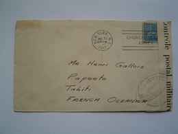 ENVELOPPE Ancienne 1941 : CONTROLE POSTAL MILITAIRE / NEW JERSEY - USA Via PAPEETE / TAHITI / OCEANIE - United States