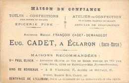 """CPA / CARTE DE VISITE FRANCE 52 """"Eclaron, Maison Confection Epicerie Fine, CADET"""" - Eclaron Braucourt Sainte Liviere"""