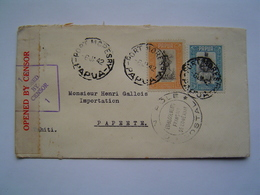 ENVELOPPE Ancienne 1942 : CONTROLE POSTAL MILITAIRE / PAPOUASIE Via PAPEETE / TAHITI / OCEANIE - Papouasie-Nouvelle-Guinée