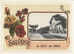 SUCY  En  BRIE.....  2 Cartes Souvenirs Gare ... Train  Creations Modernes Série Limitée - Sucy En Brie