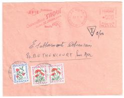 DINAN Côtes Du Nord Quincaillerie SAQUI Serrure EMA NB2358 Valeur 000 Taxe 60c Fleurs T95 T101 Ob 1970 Béthencourt Somme - Taxes