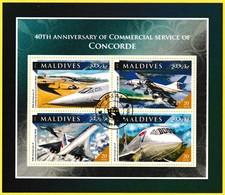 Bloc Feuillet Oblitéré - 40e Anniversaire Du Service Commercial Du CONCORDE - N° 5550-5553 (Yvert) - Maldives 2016 - Maldives (1965-...)