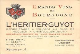 """CPA / CARTE DE VISITE FRANCE 21 """"Grand Vin De Bourgogne, L'HERITIER GUYOT, Clos Blanc De Vougeot"""" - France"""