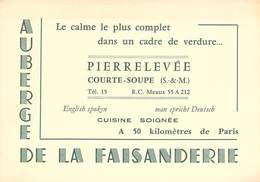 """CPA / CARTE DE VISITE FRANCE 77 """"Courte Soupe, Auberge De La Faisanderie, Courte Soupe Pierrelevée"""" - Autres Communes"""