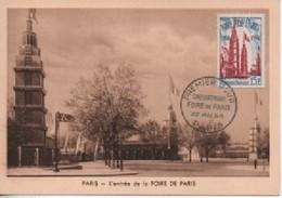 CARTE MAXIMUM   FOIRE DE PARIS   EDITEUR BOURGOGNE     N° YVERT  ET TELLIER 975 TRES BON ETAT - 1950-59