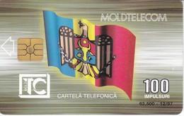 TARJETA DE MOLDAVIA DE 100 IMPULSURI - BANDERA-FLAG (MOLDOVA) - Moldova