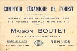"""CPA / CARTE DE VISITE FRANCE 35 """"Rennes, Comptoir Céramique De L'Ouest, Maison BOUTET"""" - Rennes"""