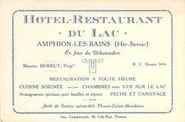"""CPA / CARTE DE VISITE FRANCE 74 """"Amphion Les Bains, Hotel Restaurant Du Lac"""" - France"""