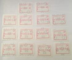 BELGIUM : 14 VIGNETTEN  (euro)  0.01 To 0,10 + 42 , 52 , 74 , 84 Cent  - Standard Issue - Postage Labels