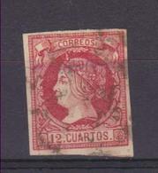 Año 1860 Edifil 53 Isabel II Matasellos Rueda Carreta - Usati