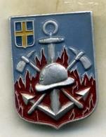 Insigne Marin Pompier, TOULON (alu Peint)___augis - Firemen