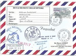 YT 3106 Voiturier à Marée Boulogne - Postée à Bord Du MD - Heli Réunion - Port Aux Français  Kerguelen  11/12/1997 - Francia