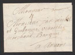 """Précurseur - LAC Datée De Dinant (1715) + Port """"4"""" Vers Marchand à Anvers. - 1714-1794 (Pays-Bas Autrichiens)"""