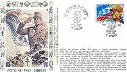 FRANCE - ENVELOPPE 50EME ANNIVERSAIRE DE LA VICTOIRE 50 ANS DE PAIX ET DE LIBERTE 1945-1995 RHIN DANUBE 8 MAI 1995EVREUX - WW2