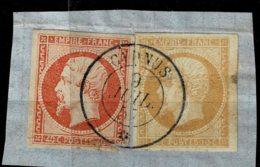 B8-N°13 + 14 Oblit CàD Paquebot CYDNUS Indice 25 Sur Lettre Soit 1400 Euros. - 1853-1860 Napoleon III