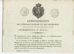 PAS-DE-CALAIS BOULOGNE LOT 2 DOCUMENTS COMMISSION DE RECEVEUR DES DOMAINES 1816 ET RECEPISSE ENREGISTREMENT 1815 - Gebührenstempel, Impoststempel