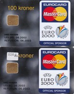 Denmark, DD 226 And 226x, Pbs Euro 2000,UEFA, Mastercard, Only 39.196 Issued, 2 Scans. Oval And Round  Ø - Danemark