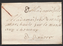 """Précurseur - LAC Datée De Mons 17/10/1713 + """"8"""" Et Marque à La Craie Vers Marchand Sur Le Marché Au Chevaux (Anvers) - 1621-1713 (Pays-Bas Espagnols)"""