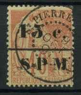 Saint Pierre Et Miquelon (1885) N 14 (o) (Dent Manquante En Dans Le Coin En Haut A Droite) - Used Stamps