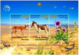Kazakhstan 2019 Barsa-Kelmes Nature Reserve Flora Fauna Birds Turtle  Lizard SS Of 3v MNH - Timbres