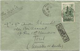 N° 567 SEUL LETTRE EXPRES PARIS 28.12.1942 POUR TOUL PAS AU TARIF - Marcophilie (Lettres)