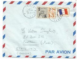 FM DRAPEAU MIXTE USA 15C LETTRE AVION PARIS NAVAL 27.1.1969 POUR LES ETATS UNIS - Franchigia Militare (francobolli)
