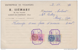 FACTURE 3 NOVEMBRE 1953 ENTREPRISE DE VIDANGES R. LIÉNART MARGNY LES COMPIEGNE OISE - TIMBRE FISCAL 13 FRANCS + 3 FRANCS - Francia