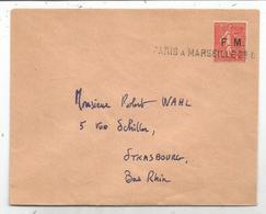 FM SEMEUSE LIGNEE 50C  LETTRE GRIFFE AMBULANT PARIS A MARSEILLE 2°C - Franchigia Militare (francobolli)