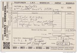 FACTURE 20 DÉCEMBRE 1969 LEGAY SOCKEEL ALBERT SOMME - RADIO TV TÉLÉFUNKEN L.M.T. RADIALVA ARÉSO RADIOLA - Francia