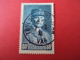 "1940-41- Oblitéré N°  471    -    PETAIN, ""état Français""   ""  80f Vert Bleu     ""      Net 3 Euros    Photo     1 - 1941-42 Pétain"