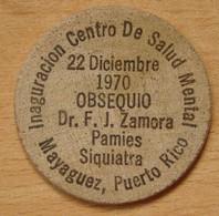 USA PORTO RICO  Wooden Nickel 22 Décembre 1970 - Professionnels/De Société