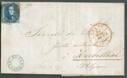 N°7 - Médaillon 20 Cent. , TB Margé (encrages Latérals) -pos. 44 - Obl. P.45 Sur Lettre De GAND Le 24 Mars 1855 Vers Her - 1851-1857 Médaillons (6/8)