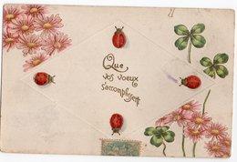 COCCINELLE * TREFLE * MARGUERITES/FLEURS * QUE VOS VOEUX S'ACCOMPLISSENT * Carte Gaufrée & Dorée - Insectos