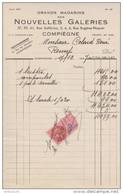 FACTURE 17 DÉCEMBRE 1947 GRANDS MAGASINS DES NOUVELLES GALERIES COMPIEGNE OISE - TIMBRE FISCAL 5 Fr - - Francia