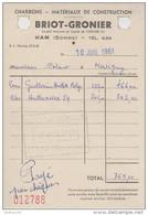 FACTURE 10 JUILLET 1961 BRIOT GRONIER HAM SOMME CHARBONS MATÉRIAUX DE CONSTRUCTION - Francia