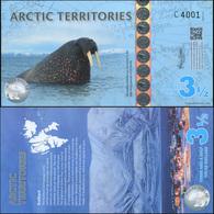 Arctic Territories 3 1/2 Dollars. 2014 Polymer Unc. Banknote Cat# P.NL - Banknoten