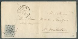 N°17 Obl. LP. 272 Sur Lettre De NIVELLES Le 14 Juillet 1866 Vers Waterloo -  15045 - 1865-1866 Linksprofil