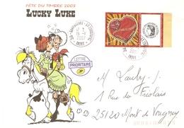France 2006 - Timbre Personnalisé Sur Lettre Avec Illustration Lucky Luke - Frankreich