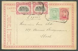 TRAM - (ex-Coll. De Bast)  E.P. Carte Emission 1915 + Tp 5c. Et 50c. (x2) Obl. Télégraphique De BRUXELLES (NORD) T T * D - 1915-1920 Albert I.