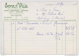 FACTURE 12 MAI 1965 SON & VUE SAINT QUENTIN AISNE DISQUE ÉLECTROPHONE TRANSISTOR RADIO TÉLÉVISION - Francia