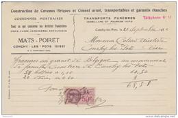 FACTURE 20 SEPTEMBRE 1936 CONCHY LES POTS OISE F. MATS POIRET TRANSPORTS FUNEBRES CAVEAUX COURONNES MORTUAIRES - Francia