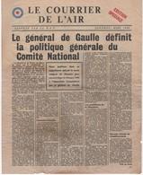 WW2 - Le Courrier De L'Air. Londres, Mars 1944, Edition Spéciale. Journal De 2 Pages, Apporté Par La R.A.F. - Historical Documents