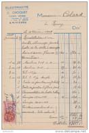FACTURE 16 FÉVRIER 1948 ÉLECTRICITÉ CHOQUET RÉMY OISE - TIMBRE FISCAL 5 Fr - - Francia