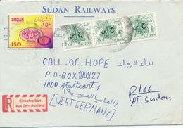 SOUDAN / ATBARNA  -  1989  -   SUDAN RAILWAYS  -  Brief Mit Zusätzlichen Dienstmarken Nach Stuttgart - Sudan (1954-...)