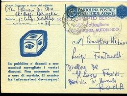 SP17 POSTA MILITARE 78 CARTOLINA IN  FRANCHIGIA , 18 REGG. BERSAGLIERI , COMPAGNIA AUTOBLINDO - 1900-44 Victor Emmanuel III
