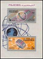717f Fujeira MNH ** Mi Bloc N° 8 A Espace Space Research Satellites Probes Tiros Telstar Overprint - Ruimtevaart