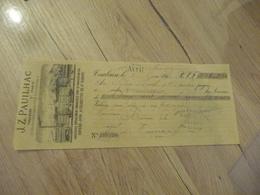 Chèque Reçu Illustré JOB Papiers à Cigarette J.Z.Pauilhac Toulouse Paris - Francia
