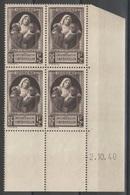 France - Coin Daté 02.10.40 - YT 465 ** MNH - Victimes De La Guerre - 1940-1949