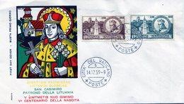PATRONVS S CASIMIRVS PRIMARIVS SAN CASIMIRO PATRONO DELLA LITUANIA CITTA DEL VATICANO 1959 FDC - NTVG. - Lithuania